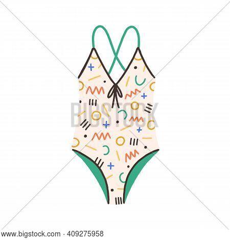 Female One-piece Swimsuit. Modern Swimwear With Bright Multicolor Geometric Pattern. Women Swimming