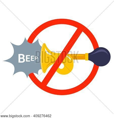 Crossed Out Car Horn. Prohibition Of Harsh Sounds. Flat Vector Illustration Isolated On White Backgr