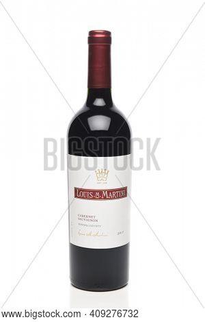 IRVINE, CALIFORNIA - 6 OCT 2020: A bottle of Louis M Martini Cabernet Sauvignon.