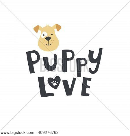 Cute Puppy Head Lettering And Dog Face