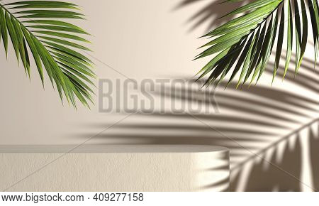 Mockup Concrete Stage For Present Product With Palm Leaf And Sunshade Light Shadow On Beige Abstract