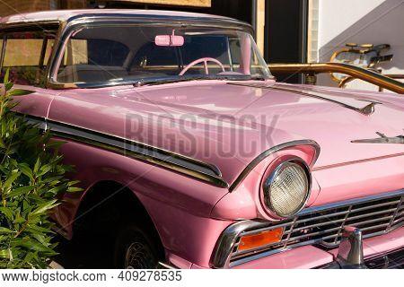 Sharm El Sheikh, Egypt - January 21, 2021: Pink Limousine, Cadillacc Pinck, Near Hard Rock Cafe In N