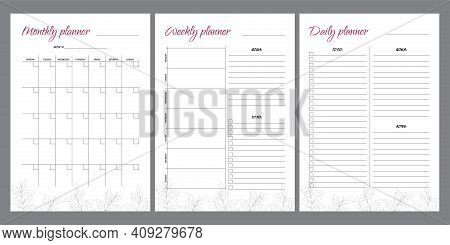 Set Of Planners With Leaf Design. Monthly, Weekly, Daily Planner.