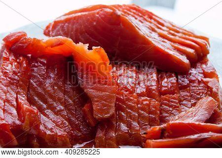 Natural Atlantic Norwegian Salmon Fillet Texture Or Pattern Closeup. Macro Photo Fresh Red Fish Or T