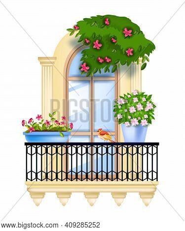 Vector House Window, Spring Balcony Facade Illustration, Blossom, Bird, Ivy, Iron Railing, Green Hom
