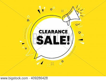 Clearance Sale Symbol. Megaphone Yellow Vector Banner. Special Offer Price Sign. Advertising Discoun