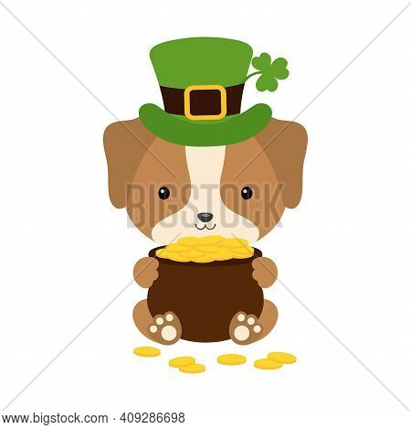 Cute Dog In Green Leprechaun Hat With Clover Holds Bowler With Gold Coins. Cartoon Sweet Animal. Vec