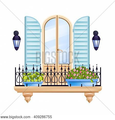 Vintage Old Town Balcony, European City House Facade Window With Shutters, Forged Railing, Flowerpot