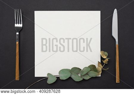 Mockup Menu, Recipe Or Cookbook. Knife, Fork, Square Paper Mockup Decorated With Gold Eucalyptus Bra