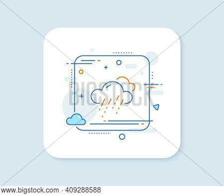 Rainy Weather Forecast Line Icon. Abstract Square Vector Button. Clouds With Rain Sign. Cloudy Sky S