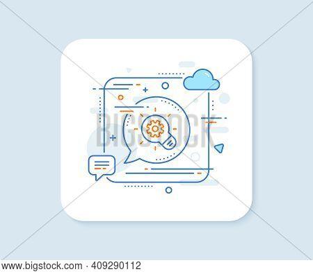 Cogwheel Line Icon. Abstract Square Vector Button. Engineering Tool Sign. Idea Bulb Symbol. Cogwheel