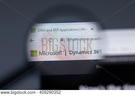 New York, Usa - 17 February 2021: Microsoft Dynamics 365 Logo Close Up On Website Page, Illustrative