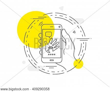 Hand Line Icon. Mobile Phone Vector Button. Social Responsibility Sign. Honesty, Collaboration Symbo