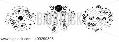 Hand Witch Set.celestial Hand Drawn Boho Style.wiccan Spell Esoteric Collection.