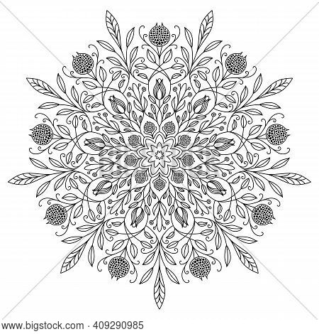 Vector Mandala Drawing With Black Lines On A White Background.