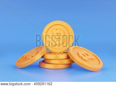 3d Rendering Bitcoin Stack On Blue Background. Cryptocurrency And Blockchain Technology Concept.