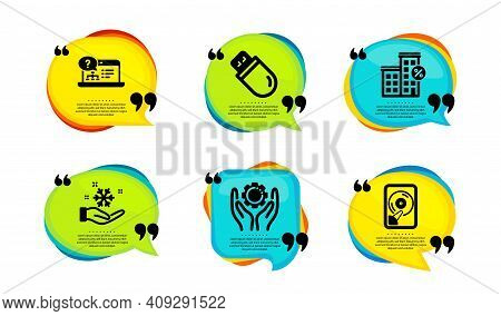 Employee Hand, Freezing And Usb Stick Icons Simple Set. Speech Bubble With Quotes. Loan House, Onlin