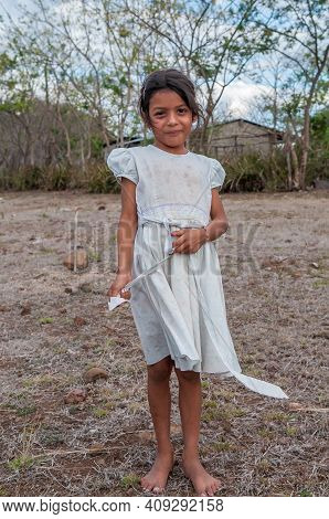 Rivas, Nicaragua. 07-15-2016. Portrait Of A Girl In A Rural Area Of Nicaragua. They Have To Walk Lon
