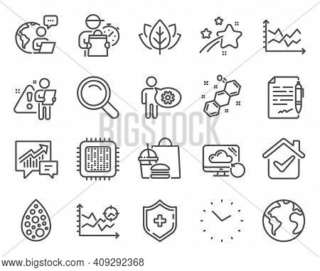 Science Icons Set. Included Icon As Artificial Colors, Cogwheel, Agreement Document Signs. Time, Org