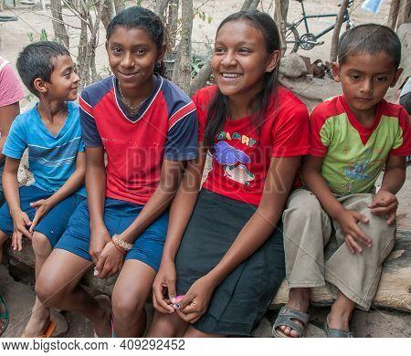 Rivas, Nicaragua. 07-15-2016. Children Having Fun After Finishing Their Homework Din A Rural Area Of