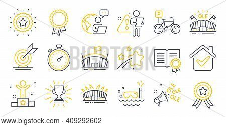 Set Of Sports Icons, Such As Target Goal, Sports Arena, Diploma Symbols. Scuba Diving, Arena Stadium