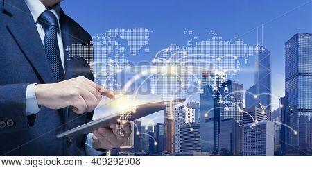 Businessman Manage On Mobile Tablet In Office Building, Modern Tower, Innovation, Property, Asset, R