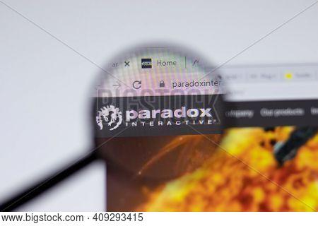 New York, Usa - 17 February 2021: Paradox Interactive Logo Close Up On Website Page, Illustrative Ed