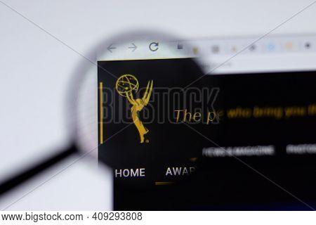 New York, Usa - 17 February 2021: Emmy Awards Logo Close Up On Website Page, Illustrative Editorial