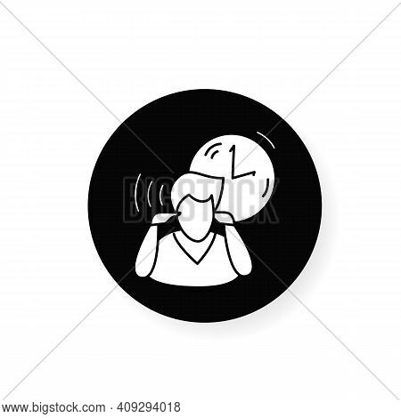 Mind Focus Flat Icon. Man Practicing Mindfulness Attention Concentration Periods Throughout Day. Con