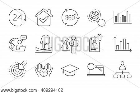 Interview Documents, 24 Hours And Diagram Graph Line Icons Set. Recovery Laptop, Targeting And Cogwh