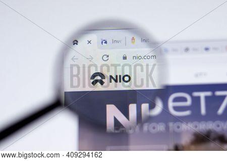 New York, Usa - 17 February 2021: Nio Logo Close Up On Website Page, Illustrative Editorial