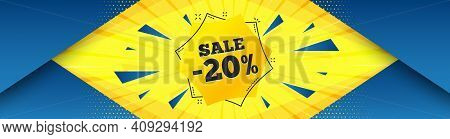 Sale 20 Percent Off Sticker. Abstract Background With Offer Message. Discount Banner Shape. Coupon B