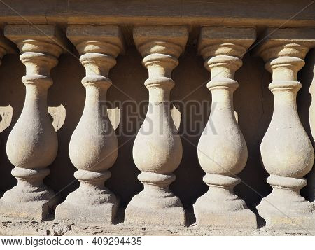 Balustrade, Fence Of Stairs, Balconies, Terraces, Consisting Of A Row Of Figured Posts, Balusters, C