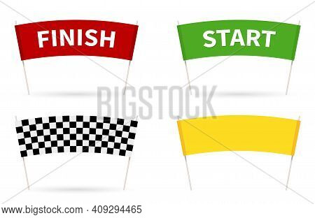 Flag Start. Flag Finish For The Competition. Streamers Of Start And Finish In Flat Style.
