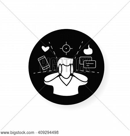 Attention Focus Flat Icon. Man Limiting Attention And Ignoring Social Media Distractions. Filled Fla