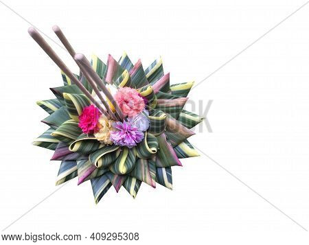 Krathong Fabrication Of Natural Materials For Loy Kratong Festival In Thailand Isolated On White Bac