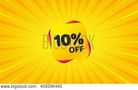 Sale 10 Percent Off Banner. Yellow Background With Offer Message. Discount Sticker Shape. Coupon Bub