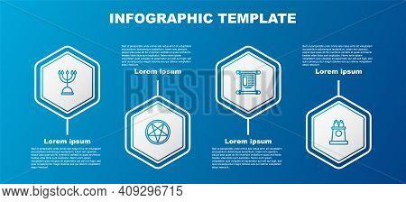 Set Line Hanukkah Menorah, Pentagram In Circle, Decree, Paper, Parchment, Scroll And Stage Stand Tri