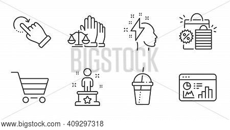 Court Jury, Seo Statistics And Success Line Icons Set. Coffee Cocktail, Market Sale And Brainstormin