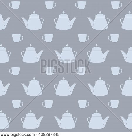 Vector Tea Pots And Cups In Dusty Blue Colors Seamless Pattern Background. Perfect For Fabric, Wallp