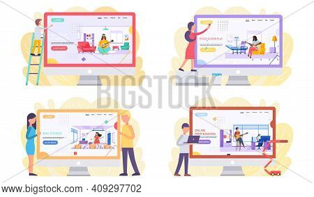 Set Of Illustrations About People Interact With Monitor Depicting Musicians. Guitarists Play Guitar.