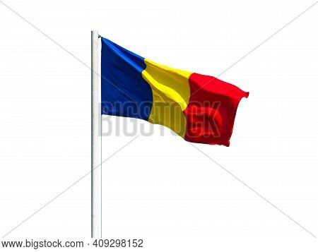 Romanian Flag On The Flagpole Isolated On White