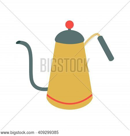 A Coffee Pot, A Teapot In Vintage Green And Yellow With A Long, Curved Spout. Vector Illustration, I