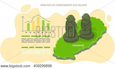 Analysis Of Components Jeju Island, Poster To Reveal Statistics Of Tourists Visiting Showplace. Trav