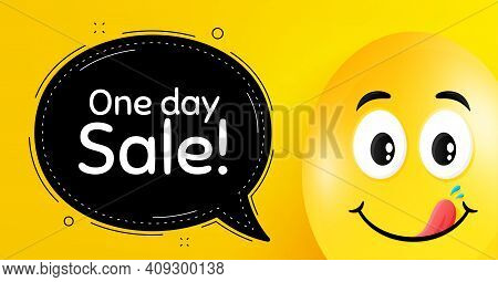 One Day Sale. Easter Egg With Yummy Smile Face. Special Offer Price Sign. Advertising Discounts Symb