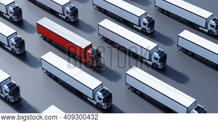 Fleet of new heavy trucks with one selected. Transport, shipping industry. 3D illustration