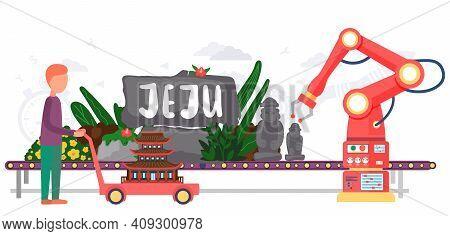 Jeju Island In Asia In South Korea Flat Vector. Dol Hareubang And Hallasan Mountain Stone Figures At
