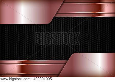 Rose Gold 3d Abstract Overlap Dimension On Black Hexagon Texture Background. Realistic Overlap Layer