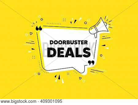 Doorbuster Deals. Megaphone Yellow Vector Banner. Special Offer Price Sign. Advertising Discounts Sy