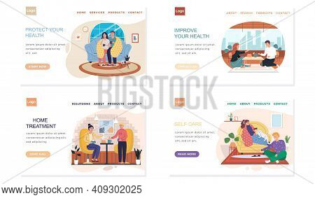 Set Of Illustrations About Home Treatment. Landing Page Template With Sick People On Self-isolation.